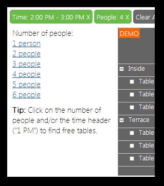 restaurant table reservation asp net filter people