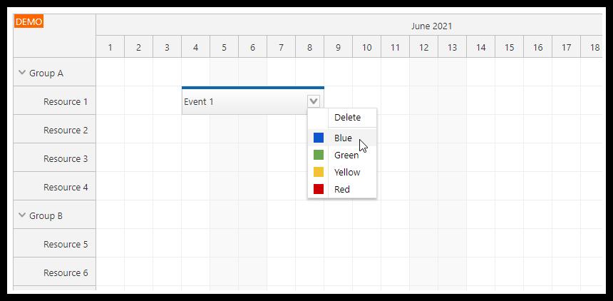 vue js scheduler reservation application context menu