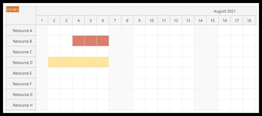 vue scheduler per resource holidays
