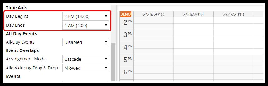 javascript calendar ui builder hour range