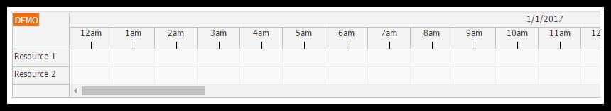 javascript scheduler time header 30 minute mark