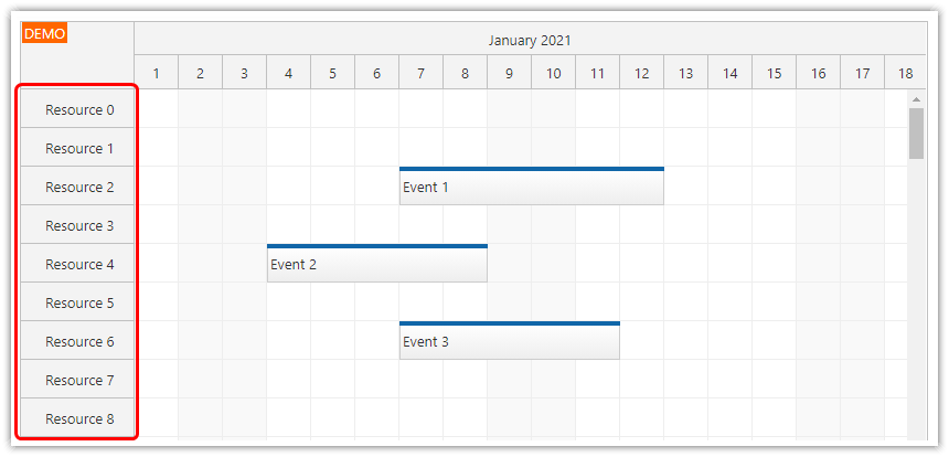 vue scheduler on demand event loading viewport rows