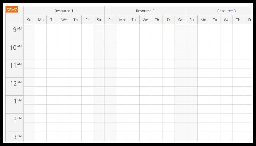 react resource calendar resources days