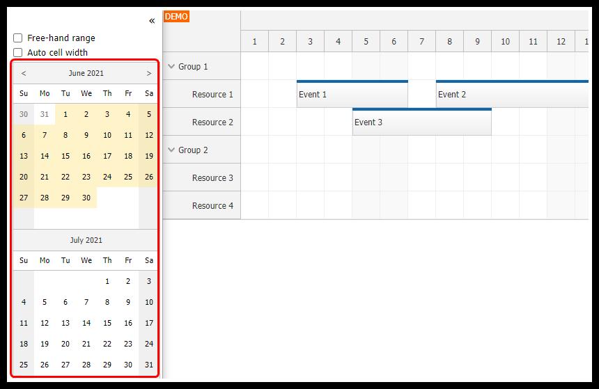angular scheduler date navigator component