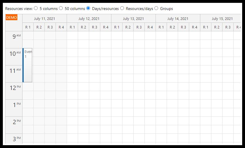react resource calendar days resources