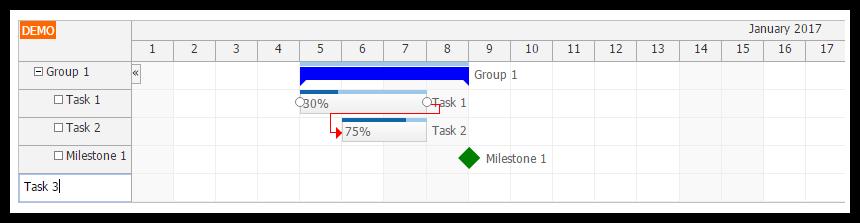 angular2 gantt chart task creating