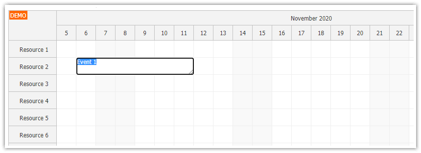 javascript scheduler keyboard navigation inline editing