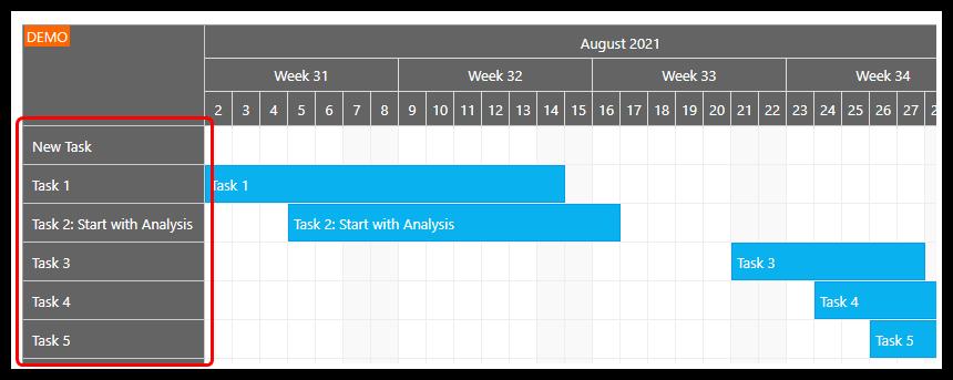 gantt chart asp.net row header width
