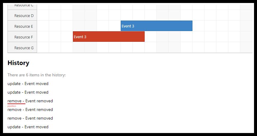 react scheduler undo redo history
