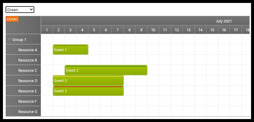 react scheduler css theme green