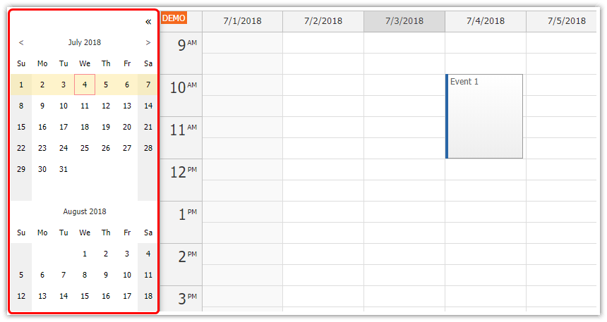 angular calendar full screen layout sidebar