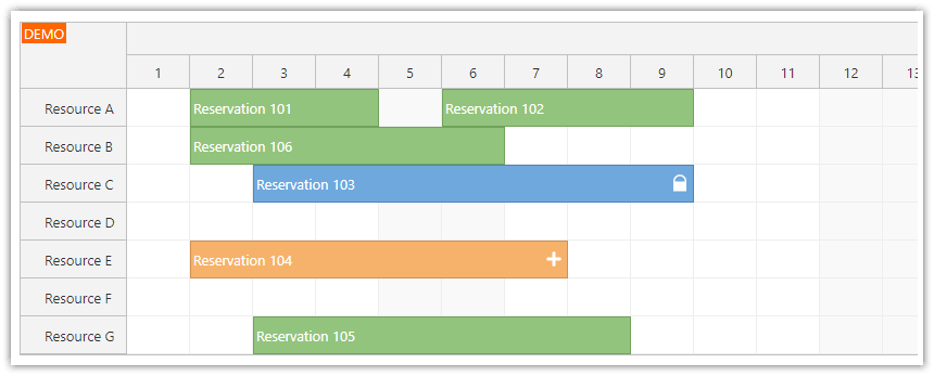 react scheduler component tutorial reservation color