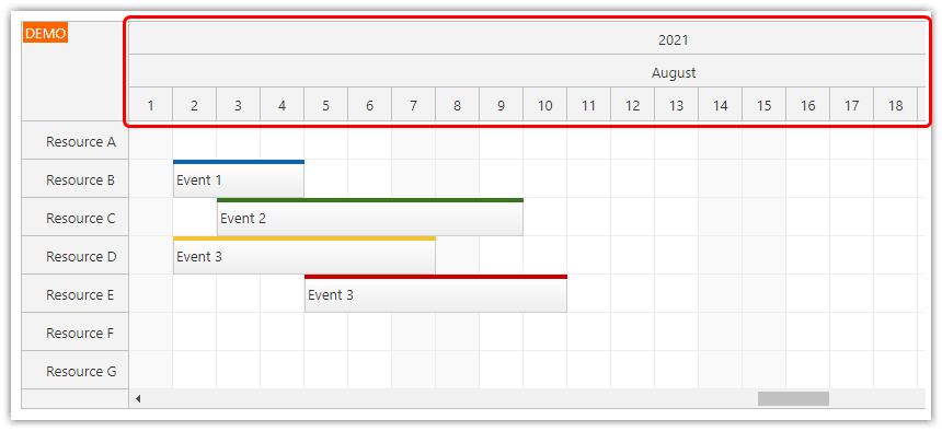 react scheduler how to configure the timeline