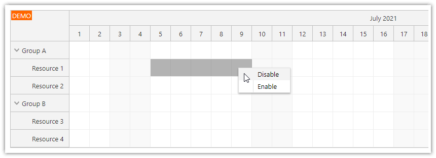 angular scheduler how to change the time slot status to disabled using drag an drop