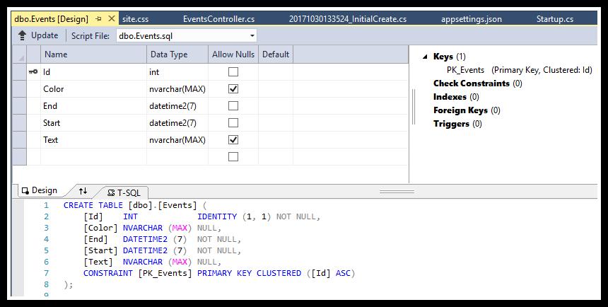 html5 monthly calendar asp.net core sql server database
