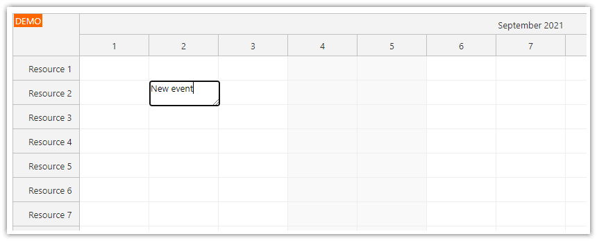 how to create scheduler events using inline editing mode