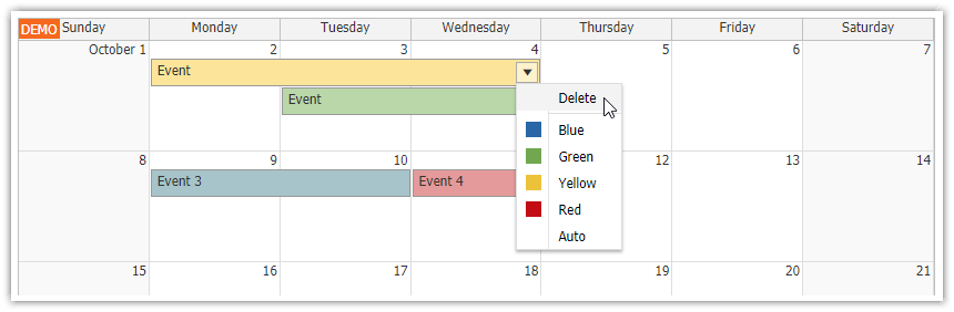 html5 monthly calendar asp.net core event deleting