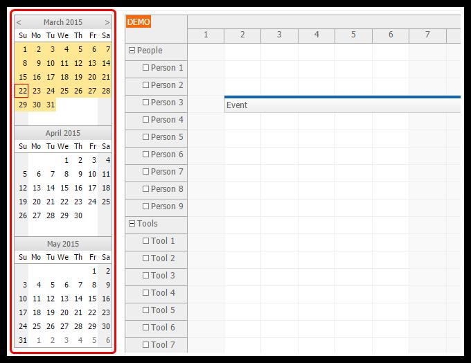 angularjs scheduler date navigator