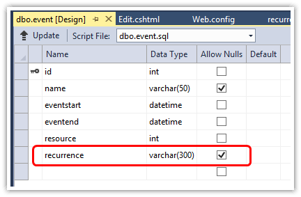 asp.net mvc 5 scheduler recurrence sql schema