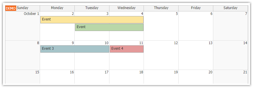 html5 monthly calendar asp.net core loading events