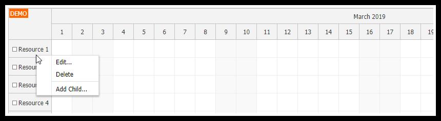 javascript scheduler resource context menu simple