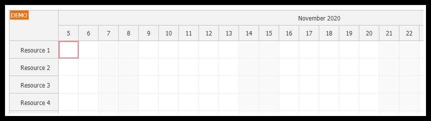 javascript scheduler keyboard navigation focused cell