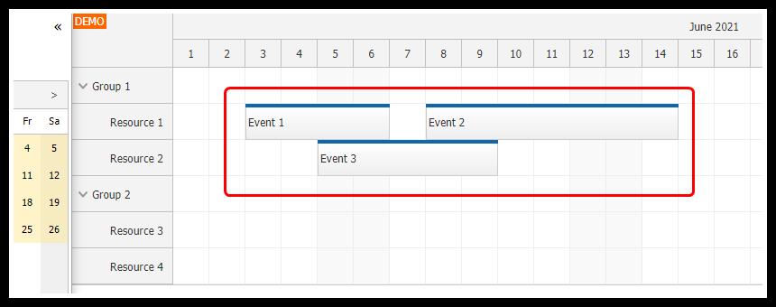 angular scheduler date navigation loading events