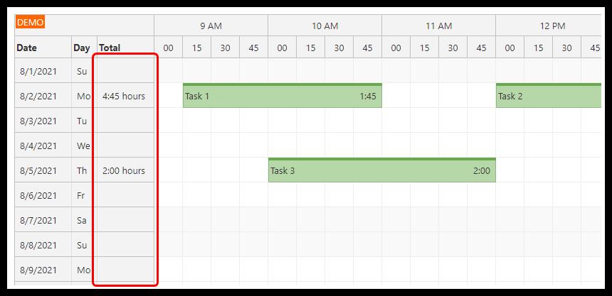 angular 12 timesheet quick start project totals