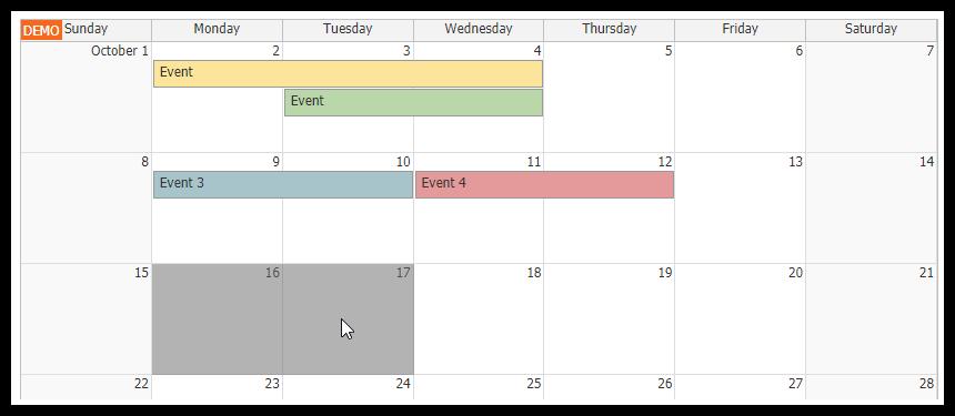 html5 monthly calendar asp.net core event creating