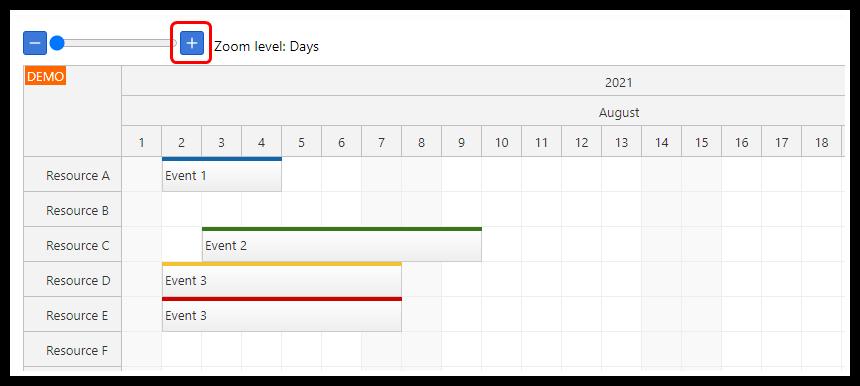 react scheduler timeline zoom in