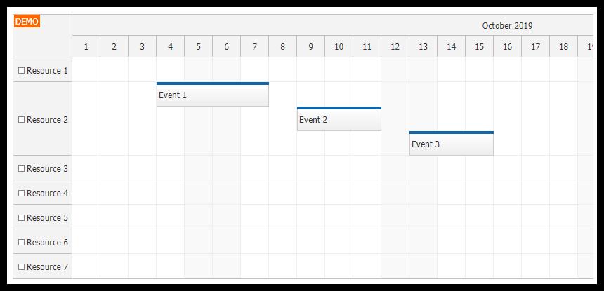 javascript scheduler event placement dedicated line
