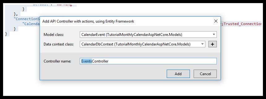 html5 monthly calendar asp.net core api controller