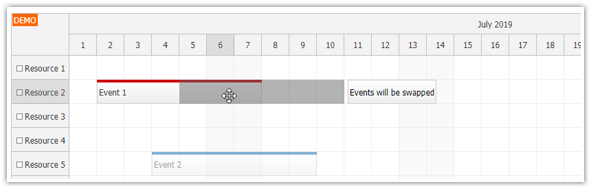 javascript scheduler event swapping drag and drop before