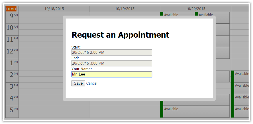angularjs doctor appointment scheduling php request