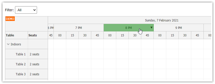 php restaurant table reservation system javascript html5 time filter
