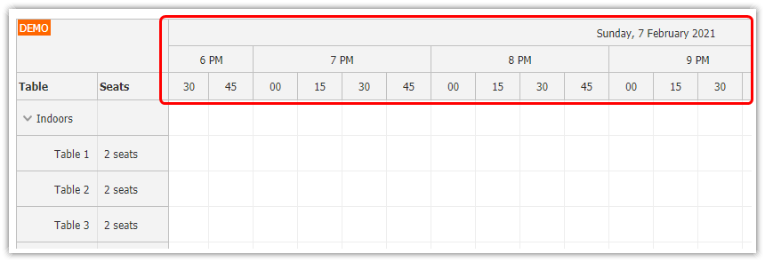 php restaurant table reservation system time line