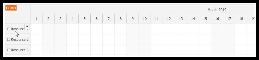 javascript scheduler resource context menu active area