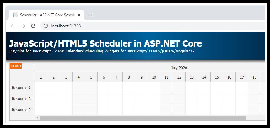 javascript html5 scheduler asp.net core simple