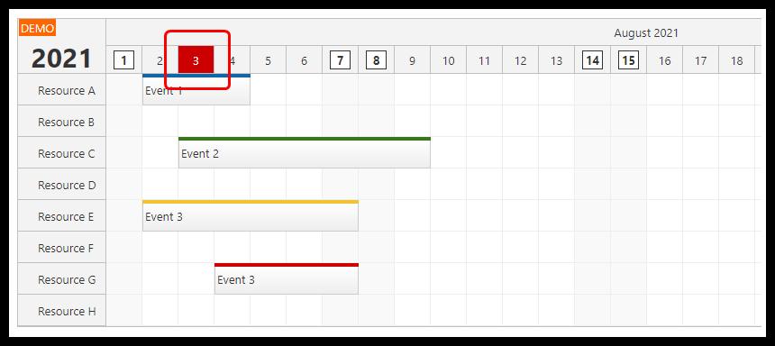 react scheduler rendering jsx in time header today