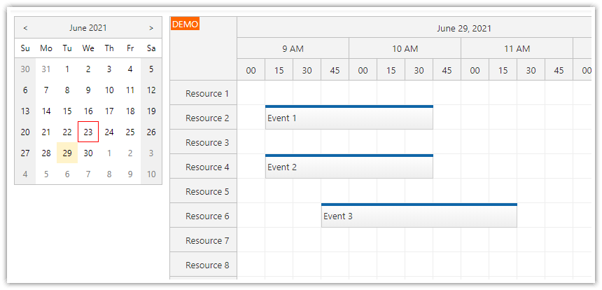 how to load scheduler events when switching a date