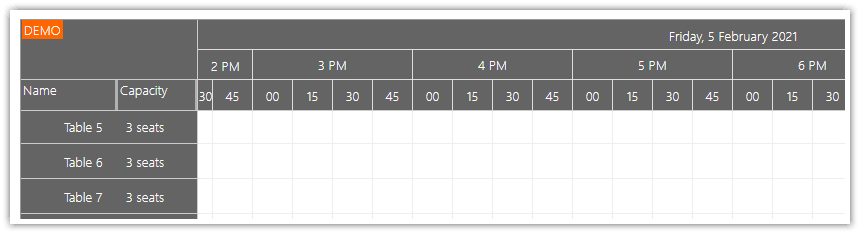 asp.net restaurant table reservation time headers