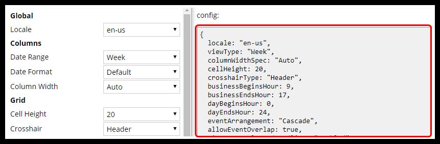 javascript calendar configurator config
