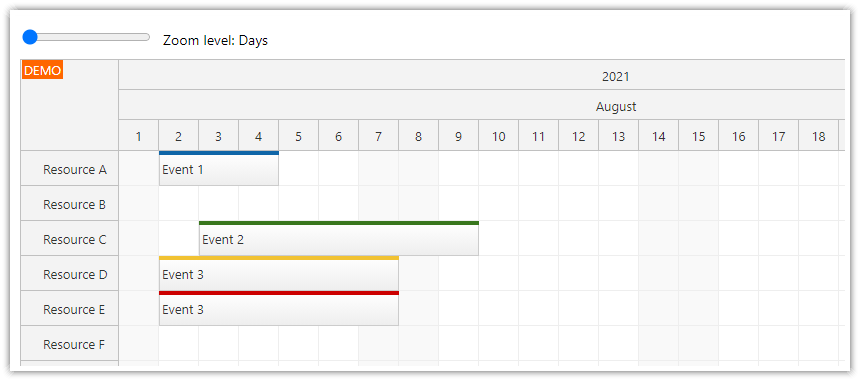 react scheduler how to zoom using the range html input element