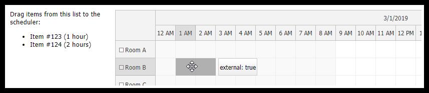 javascript scheduler external drag drop target