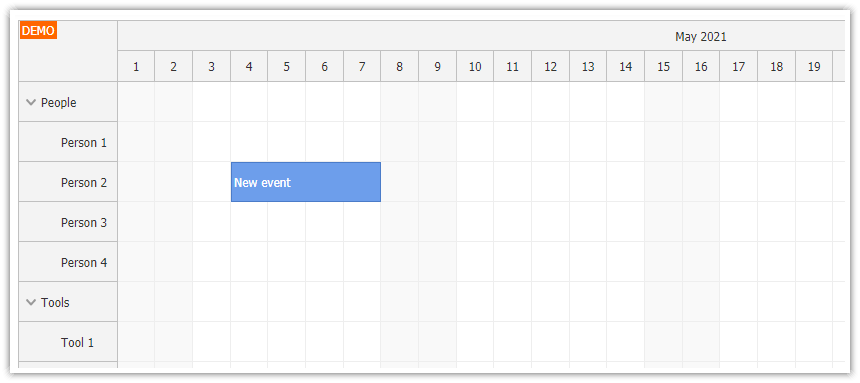 html5 scheduler loading events