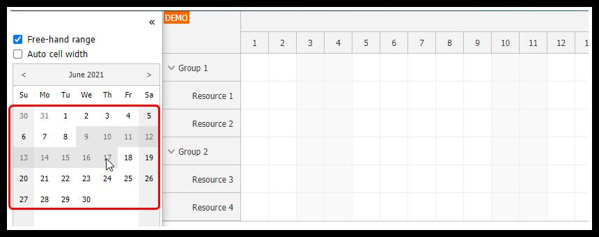 angular scheduler date navigation free hand selection