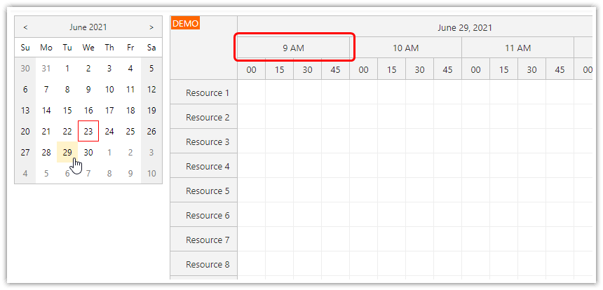 how to scroll to a specific time of day when changing the date
