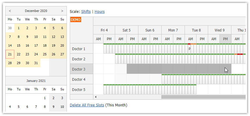 asp.net doctor appointment scheduling manager shifts