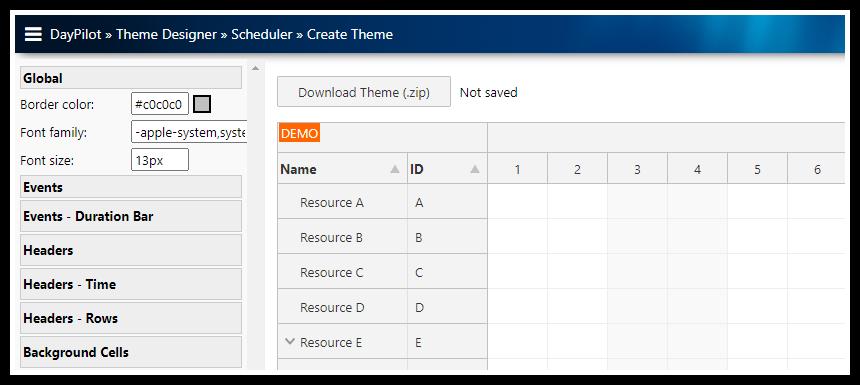 react scheduler css theme designer