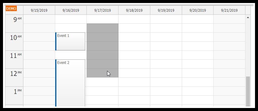 vue.js weekly calendar component create event